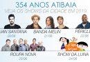 Atibaia terá shows de Luan Santana, Melim, Péricles, Roupa Nova e Luna